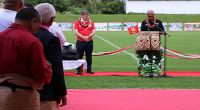 Tonga's Prime Minister 'Akilisi Pohiva (right) in an All Blacks jersey speaking at the reopening of Teufaiva Stadium in Nuku'alofa as New Zealand Prime Minister Bill English, in an 'Ikale Tahi jersey looks on. 16 June 2017 Photo: RNZI/ Nayte Mataia-Davidson
