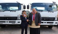H.E Mr. Yukio Numata, Ambassador of Japan to Tonga with Hon. Siaosi Sovaleni, Deputy Prime Minister of Tonga, Minister for MEIDECC and Minister for Foreign Affairs at the handover of NPGA products to NEMO on Monday, 7 August 2017