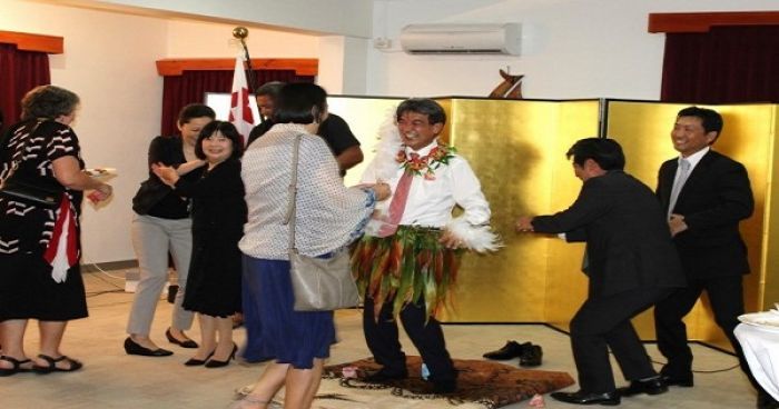 H.E Mr. Yukio Numata performing a local Tongan dance