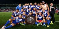 Samoa celebrate with the Pacific Test trophy after their hard-fought victory over Tonga