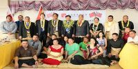 His Excellency Huang Huaguang, Chinese Ambassador to Tonga, CEO of the Ministry of Internal Affairs Ana, Deputy CEO of the Ministry of Education Taunisila, Deputy Secretary of the Ministry of Foreign Affairs Latu, members of the alumni association