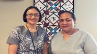 Sarah Walsh New Zealand High Commissioner with the Acting Chief Executive of the Ministry of Finance and Planning Kilisitina Tuaimeiapi