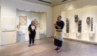 "Curator Maia Nuku with artist Benjamin Work during the event ""Met Fridays: Artists Choice,"" September 9, 2016. Courtesy the Metropolitan Museum of Art, New York."