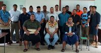 CEO for the Ministry of MEIDECC, Mr. Paula Pouvalu Ma'u with the participants attending the RAC Technician Workshop, Tonga Institute of Science and Technology.