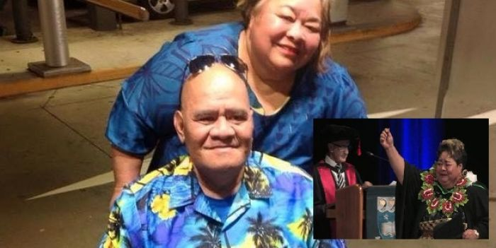 Seini Mafile'o with her husband, Sitaleki Maka, who died in October last year. Inset is Seini on her graduation day. Photo: NZ Herald