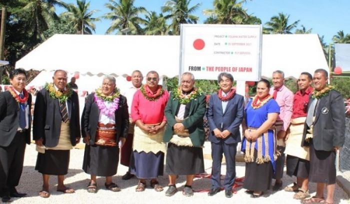 H.E Mr. Yukio Numata with Hon. Penisimani Fifita and the Distinguished Guests at the Folaha Village Water Supply System handover ceremony on Tuesday, 5 September 2017