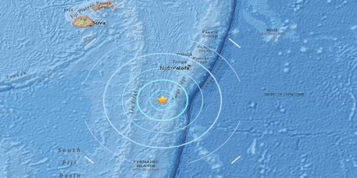 The USGS measured a 6.4 earthquake to the south of Fiji, and the southwest of Tonga, at 98 kilometres deep, 846km south east of Suva, at 1619 Fiji Time on 26 September 2017. Photo: USGS