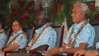 Tonga interim Prime Minister 'Akilisi Pohiva at the opening of the 48th Pacific Islands Forum Leaders Meeting